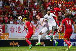 Alexander Oluwatayo Akande of Hong Kong (R) heads the ball during the International Friendly match between Hong Kong and Jordan at Mongkok Stadium on June 7, 2017 in Hong Kong, China. Photo by Marcio Rodrigo Machado / Power Sport Images