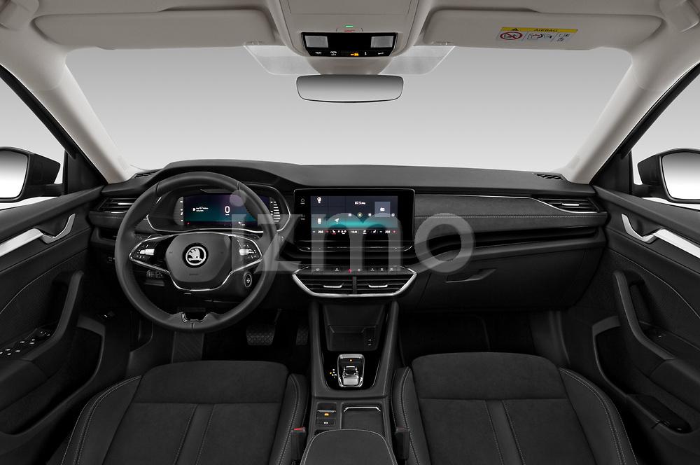 Stock photo of straight dashboard view of 2020 Skoda Octavia Style 5 Door Hatchback Dashboard