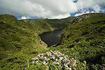 Caldeira comprida (105 m deep) and the black  lake of Comprida. Flores island..