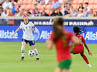 HOUSTON, TX - JUNE 10: Becky Sauerbrunn #4 of the United States gains control of a loose ball during a game between Portugal and USWNT at BBVA Stadium on June 10, 2021 in Houston, Texas.