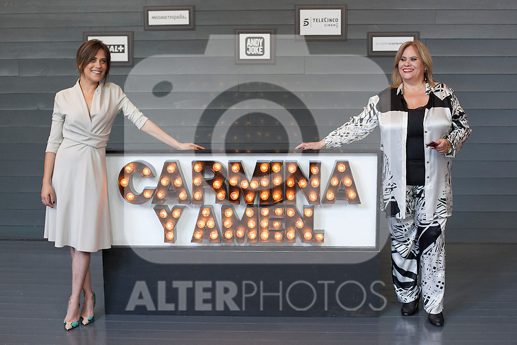 Spanish actresses Maria Leon (L) and Carmina Barrios (R) pose during `Carmina y amen´ film premiere photocall at Cineteca Matadero in Madrid, Spain. April 28, 2014. (ALTERPHOTOS/Victor Blanco)