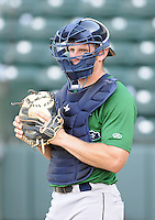 Catcher Mike Kvasnicka (7) of the Lexington Legends, a Houston Astros affiliate, prior to a game against the Greenville Drive on May 2, 2012, at Fluor Field at the West End in Greenville, South Carolina. Kvasnicka is the No. 25 prospect for the Astros, according to Baseball America. Lexington won, 4-2. (Tom Priddy/Four Seam Images)