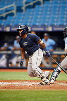 Moises Gomez (21) follows through on a swing during the Tampa Bay Rays Instructional League Intrasquad World Series game on October 3, 2018 at the Tropicana Field in St. Petersburg, Florida.  (Mike Janes/Four Seam Images)