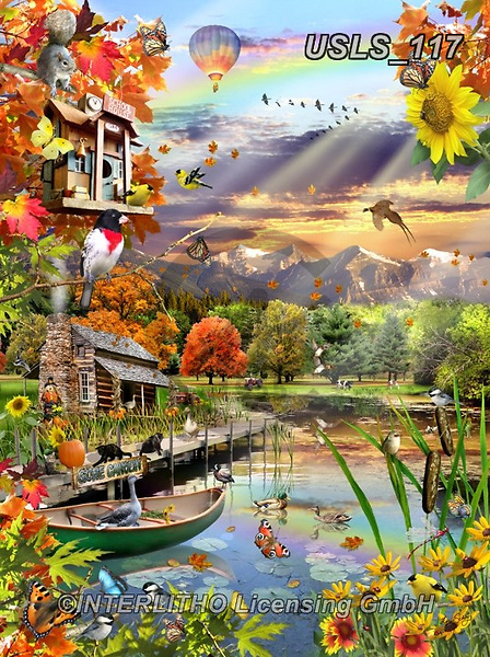 Lori, REALISTIC ANIMALS, REALISTISCHE TIERE, ANIMALES REALISTICOS, zeich, paintings+++++Autumn At The Lake_5_72,USLS117,#a#, EVERYDAY ,puzzle,puzzles