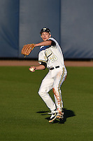 Vanderbilt Commodores outfielder Bryan Reynolds (20) throws the ball in after catching a fly ball during a game against the Indiana State Sycamores on February 20, 2015 at Charlotte Sports Park in Port Charlotte, Florida.  Vanderbilt defeated Indiana State 3-2.  (Mike Janes/Four Seam Images)