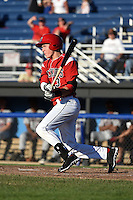 Batavia Muckdogs outfielder Ryan Aper (3) at bat during a game against the Mahoning Valley Scrappers on June 21, 2014 at Dwyer Stadium in Batavia, New York.  Batavia defeated Mahoning Valley 10-6.  (Mike Janes/Four Seam Images)