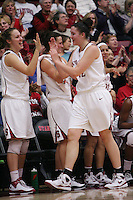 STANFORD, CA - JANUARY 29:  Kayla Pedersen and Sarah Boothe of the Stanford Cardinal during Stanford's 81-53 win over the USC Trojans on January 29, 2009 at Maples Pavilion in Stanford, California.