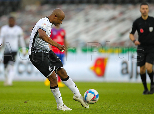 31st October 2020; Liberty Stadium, Swansea, Glamorgan, Wales; English Football League Championship Football, Swansea City versus Blackburn Rovers; Andre Ayew of Swansea City shoots at goal