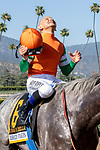 ARCADIA, CA  JUNE 2: #6 Unique Bella, ridden by Mike Smith, give thanks after winning the Beholder Mile (Grade l) on June 2, 2018 at Santa Anita Park in Arcadia, CA. (Photo by Casey Phillips/Eclipse Sportswire/Getty Images)
