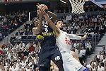 Real Madrid's Gustavo Ayon (r) and Fenerbahce Istambul's Ekpe Udoh during Euroleague Quarter-Finals 3rd match. April 19,2016. (ALTERPHOTOS/Acero)