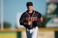 Modesto Nuts second baseman Donnie Walton (7) jogs off the field between innings of a California League game against the San Jose Giants at John Thurman Field on May 9, 2018 in Modesto, California. San Jose defeated Modesto 9-5. (Zachary Lucy/Four Seam Images)