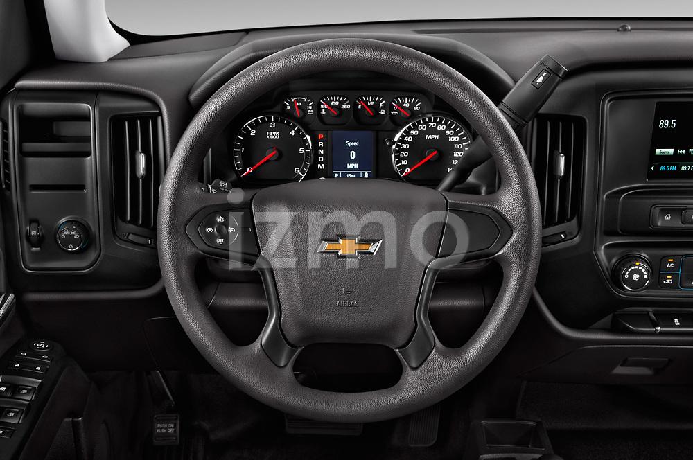 Car pictures of steering wheel view of a 2018 Chevrolet Silverado-1500 1LS-Crew-Cab-Short-Box 4 Door Pickup Steering Wheel