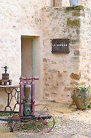 Mas de Perry, Mas Nicot. Terrasses de Larzac. Languedoc. A door. The winery building. France. Europe.