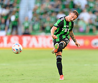 AUSTIN, TX - JUNE 19: Zan Kolmanic #21 of Austin FC passes the ball to a teammate during a game between San Jose Earthquakes and Austin FC at Q2 Stadium on June 19, 2021 in Austin, Texas.