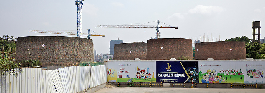 Unusually Clad In Bricks, Tanks In The Former Installation On The Back Reach, Guangzhou (Canton).