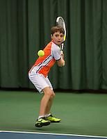Rotterdam, The Netherlands, 07.03.2014. NOJK ,National Indoor Juniors Championships of 2014,  Luuk  Verdonk (NED)   Thomas Verhoeven (NED)<br /> Photo:Tennisimages/Henk Koster