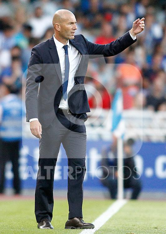 Real Madrid's coach Zinedine Zidane during La Liga match. August 21,2016. (ALTERPHOTOS/Acero)