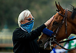 February 13, 2021: Merneith gets a pet from trainer Bob Baffert after winning the Santa Monica Stakes at Santa Anita Park in Arcadia, California on February 13, 2021. Evers/Eclipse Sportswire/CSM