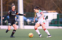 Pauline Windels (5) of Zulte-Waregem pictured defending on Luna Vanzeir (10) of OHL during a female soccer game between Oud Heverlee Leuven and SV Zulte-Waregem on the 16 th matchday of the 2020 - 2021 season of Belgian Womens Super League , sunday 14 th of March 2021  in Heverlee , Belgium . PHOTO SPORTPIX.BE | SPP | DAVID CATRY