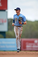 Tampa Bay Rays Josh Lowe (18) jogs to the dugout during an Instructional League game against the Baltimore Orioles on October 2, 2017 at Ed Smith Stadium in Sarasota, Florida.  (Mike Janes/Four Seam Images)