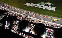 Feb 07, 2009; Daytona Beach, FL, USA; NASCAR Sprint Cup Series drivers prior to taking the green flag during the Bud Shootout at Daytona International Speedway. Mandatory Credit: Mark J. Rebilas-