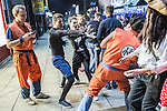 © Joel Goodman - 07973 332324 . 27/12/2016 . Wigan , UK . Dragon Ball Z themed outfits and play . Revellers in Wigan enjoy Boxing Day drinks and clubbing in Wigan Wallgate . In recent years a tradition has been established in which people go out wearing fancy-dress costumes on Boxing Day night . Photo credit : Joel Goodman