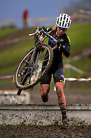 Action from the Elite Women's race of the 2016 Huttcross cyclocross national championships at Moonshine Park, Upper Hutt, Wellington, New Zealand on Saturday, 6 August 2016. Photo: Dave Lintott / lintottphoto.co.nz
