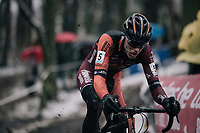 eventual winner Yannick Peeters (BEL/Pauwels Sauzen-Vastgoedservice) leading the race<br /> <br /> U23 Men's Race<br /> CX Vlaamse Druivencross Overijse 2017