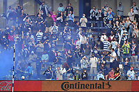 KANSAS CITY, KS - MAY 16: Sporting KC fans celebrate a goal during a game between Vancouver Whitecaps and Sporting Kansas City at Children's Mercy Park on May 16, 2021 in Kansas City, Kansas.