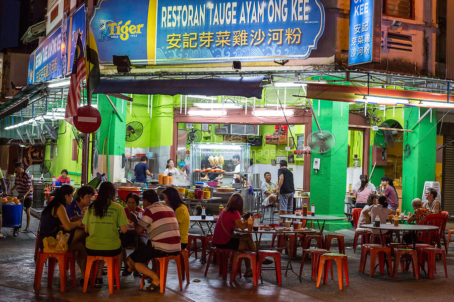 Outdoor Restaurant Serving Chicken, Rice, and Bean Sprouts (Tauge Ayam), an Ipoh Specialty.  Ipoh, Malaysia.