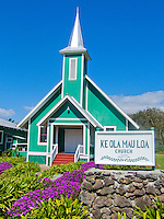 The picturesque Ke Ola Mau Loa Hawaiian church in Kamuela, Waimea, Big Island.