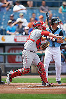 Pawtucket Red Sox catcher Matt Spring (47) throws down to second in front of Trea Turner (4) during a game against the Syracuse Chiefs on July 6, 2015 at NBT Bank Stadium in Syracuse, New York.  Syracuse defeated Pawtucket 3-2.  (Mike Janes/Four Seam Images)