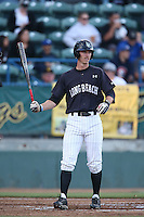 Michael Hill #6 of the Long Beach State Dirtbags bats against the Indiana Hoosiers at Blair Field on March 14, 2014 in Long Beach, California. Long Beach State defeated Indiana 4-3. (Larry Goren/Four Seam Images)
