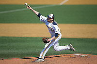 Quinnipiac Bobcats pitcher Wyatt Hamilton (33) delivers a pitch to the plate against the Radford Highlanders at David F. Couch Ballpark on March 4, 2017 in Winston-Salem, North Carolina.  The Highlanders defeated the Bobcats 4-0.  (Brian Westerholt/Four Seam Images)