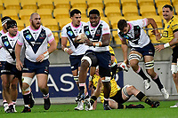 Isi Naisarani of the Melbourne Rebels charges forward during the Super Rugby - Hurricanes v Rebels at Sky Stadium, Wellington, New Zealand on Friday 21 May 2021.<br /> Photo by Masanori Udagawa. <br /> www.photowellington.photoshelter.com