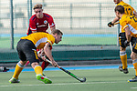 Mannheim, Germany, October 25: During the 1. Bundesliga men fieldhockey match between Mannheimer HC (red) and Harvestehuder THC (yellow) on October 25, 2020 at Am Neckarkanal in Mannheim, Germany. Final score 6-4 (HT 2-3). (Copyright Dirk Markgraf / www.265-images.com) *** Michael Koerper #9 of Harvestehuder THC, Tim Seagon #17 of Mannheimer HC