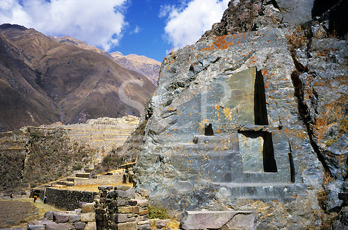 Ollantaytambo, Peru. Inca stone buildings and terraces showing hewn natural stone in situ.