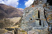 Ollantaytambo, Peru. Inca stone buildings and terraces showing hewn natural stone in situ.