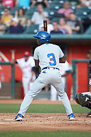 Chris Singleton (3) of the South Bend Cubs at bat against the Lansing Lugnuts at Cooley Law School Stadium on June 15, 2018 in Lansing, Michigan. The Lugnuts defeated the Cubs 6-4.  (Brian Westerholt/Four Seam Images)
