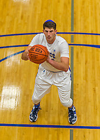 22 November 2015: Yeshiva University Maccabee Forward Shelby Rosenberg, a Senior from Woodmere, NY, prepares to take a foul shot in the second half of NCAA Men's Basketball play against the Hunter College Hawks at the Max Stern Athletic Center  in New York, NY. The Maccabees defeated the Hawks 81-71 in non-conference play, for their second win of the season. Mandatory Credit: Ed Wolfstein Photo *** RAW (NEF) Image File Available ***