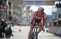 Lars Bak (DEN/Lotto-Soudal) finishing his TT<br /> <br /> 3 Days of De Panne 2015<br /> stage 3b: De Panne-De Panne TT