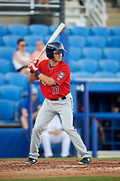 Fort Myers Miracle third baseman Joe Cronin (17) at bat during a game against the Dunedin Blue Jays on April 17, 2018 at Dunedin Stadium in Dunedin, Florida.  Dunedin defeated Fort Myers 5-2.  (Mike Janes/Four Seam Images)