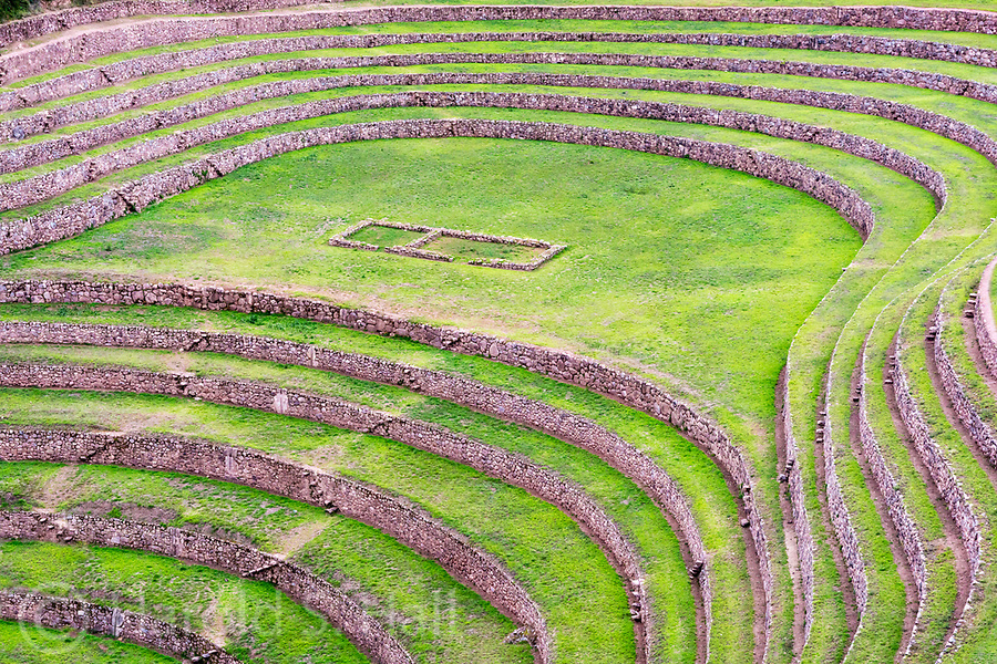 The Moray ruins are generally passed over by the many hurried tourists on their way to Machu Picchu.  These Inca built terraces are thought to be ancient agricultural laboratories experimenting with different soils and micro-climates of the region.