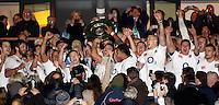Photo: Richard Lane/Richard Lane Photography. England v New Zealand. QBE Autumn Internationals. 01/12/2012. England celebrate with the Hillary Shield.