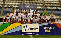 BARRANCABERMEJA - COLOMBIA, 16-04-2021: Jugadores de Envigado F. C., posan para una foto, antes partido Alianza Petrolera y Envigado F. C. de la fecha 19 por la Liga BetPlay DIMAYOR I 2021 en el estadio Daniel Villa Zapata en la ciudad de Barrancabermeja. / Players of Envigado F. C., pose for a photo, prior a match between Alianza Petrolera and Envigado F. C., of the 19th date for the BetPlay DIMAYOR I 2021 League at the Daniel Villa Zapata stadium in Barrancabermeja city. / Photo: VizzorImage / Jose D. Martinez / Cont.