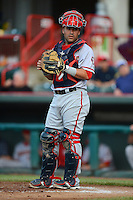 Harrisburg Senators catcher Sandy Leon #40 during a game against the Erie Seawolves on July 2, 2013 at Jerry Uht Park in Erie, Pennsylvania.  Erie defeated Harrisburg 2-1.  (Mike Janes/Four Seam Images)