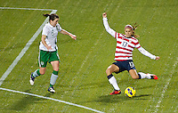 Alex Morgan shoots and scores her first of three goals in the first half. USWNT played played a friendly against Ireland at JELD-WEN Field in Portland, Oregon on November 28, 2012.