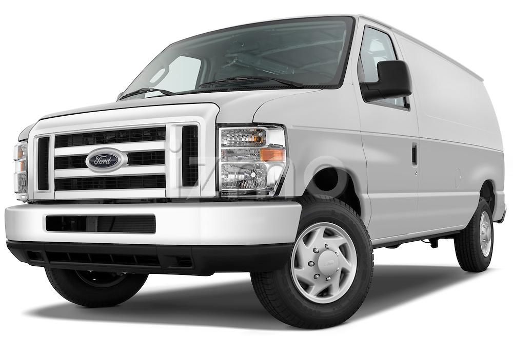 Low aggressive front three quarter view of a 2009 Ford E 150 Cargovan.