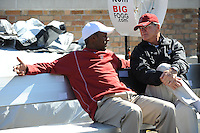 South Bend, IN - OCTOBER 4:  Assistant coach Willie Taggart (left) and former assistant coach Jack Harbaugh (right) of the Stanford Cardinal during Stanford's 28-21 loss against the Notre Dame Fighting Irish on October 4, 2008 at Notre Dame Stadium in South Bend, Indiana.