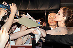 """Angelina Jolie, Jun 23, 2014 : Tokyo, Japan : The actress Angelina Jolie greets fans during the Japan premier for the film """"Maleficent"""" in Yebisu Garden Place on June 23, 2014. The movie will be released on July 5th. (Photo by Rodrigo Reyes Marin/AFLO)"""